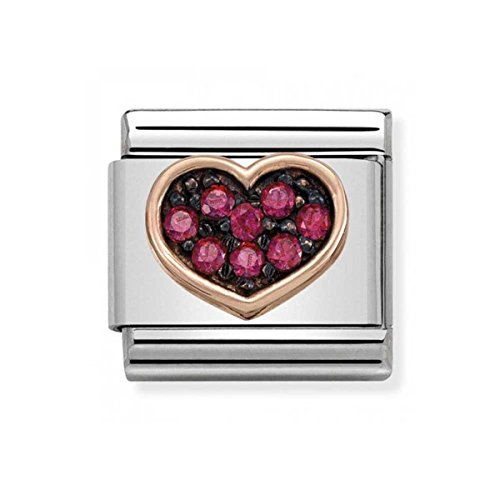 Nomination composable Classic Ladies Bead; Partially Gold-Plated, Stainless Steel Charm Bead – Cubic Zirconia, red – 430311/01