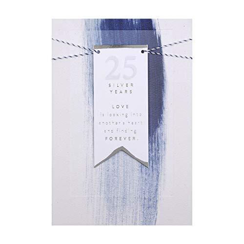 Hallmark - Tarjeta de felicitación de aniversario de boda en plata con diseño de etiqueta 3D
