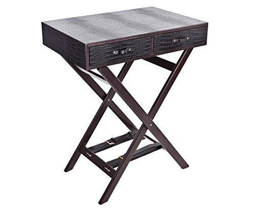 Signature Home Collection AP-100-A03 Table d'appoint Structure en Bois et Plateau en Cuir avec imprimé Croco 2 tiroirs Noir H 70 cm 60 x 40 cm