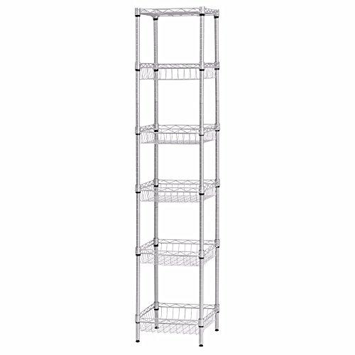 SINGAYE Storage Shelves 6-Tier Wire Shelving Unit with Baskets Storage Rack Corner Shelf Shelving Adjustable Storage Shelf 134 D x 134 W x 512 HSilver
