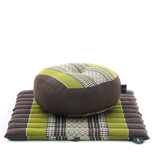 Leewadee Meditation Cushion Set: Round Zafu Pillow and Small Square Roll-Up Zabuton Mat For Floor...