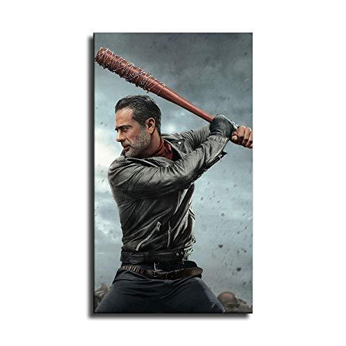 The Walking Dead Jeffrey Dean Morgan Negan Poster auf Leinwand, Wandkunst, Kunstdruck, moderne Familienschlafzimmerdekoration