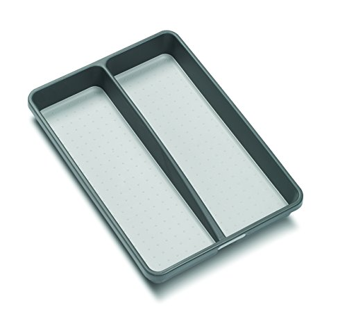 madesmart Classic Mini Utensil Tray - Granite   CLASSIC COLLECTION   2-Compartments   Kitchen Organizer   Soft-grip Lining and Non-slip Rubber Feet   BPA-Free