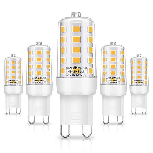 AMBOTHER G9 LED Dimmbar, 5W LED Lampe Warmweiß 3000K statt 40W 50W Halogenlampen, G9 LED Birne Leuchtmittel Glühbirnen 450LM Kein Flackern, CRI> 85 Mais Kolben, AC 220-240V, 5er Pack