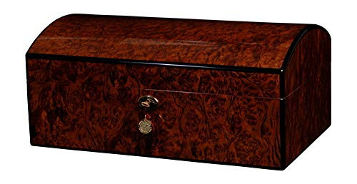 AUTOGRAPHED DANIEL MARSHALL 150 CIGAR HUMIDOR 20TH ANNIVERSARY TREASURE CHEST IN BURL