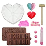 Silicone Molds for Chocolate and Cake: Geometric Heart Mold, Number and Letter Molds for chocolate,Wooden Hammer,Happy Birthday Chocolate Mold,Chocolate Pen,for Home Chocolate Candy and Cake Making