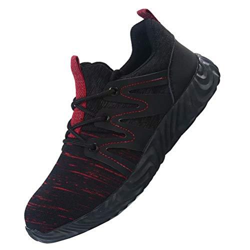 Scarpe Antinfortunistiche Uomo s3 Donna Scarpe da Cantiere Ultraleggeri Traspiranti Sneaker da Lavoro Anti-Scivolo Rosso 37
