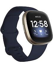 Fitbit Versa 3, la montre connectée santé et sport avec GPS intégré, suivi continu de la fréquence cardiaque, assistant vocal et jusqu'à 6 jours d'autonomie de batterie.
