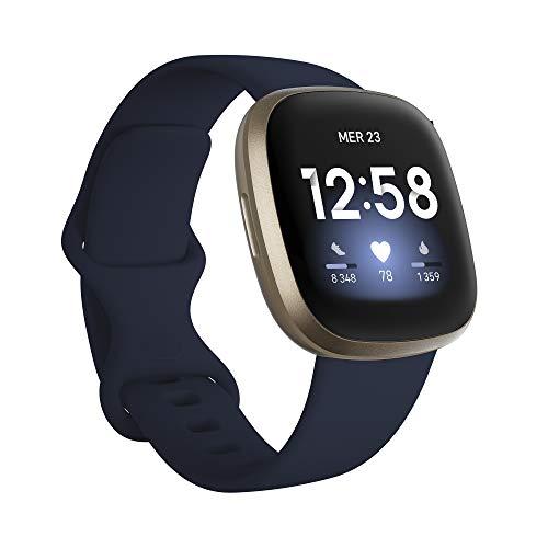 Fitbit Versa 3 Midnight - Soft Gold Smartwatch Unisex-Adult, Bleu, Nuit, Or, Pâle, One