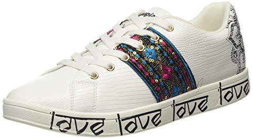 Desigual Shoes Cosmic Exotic Ind, Zapatillas para Mujer, Blanco (Blanco 1000), 40 EU