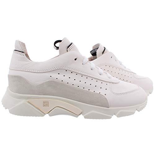 MOMA Damen Sneakers 3AS010-CT Paradigma Bianco Pelle Leder Weiss