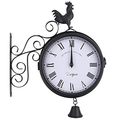 Litty - Reloj de pared silencioso, marco de metal, reloj de pared de doble cara, vintage de pared con cubierta impermeable, estilo tradicional vintage para interiores y exteriores
