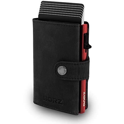 BORZ Prime ® MAXUS Mini Wallet Herren Damen (mit Münzfach) | Slim Wallet Credit Cardholder | RFID Schutz | Premium Geldbörse (01 Leder Schwarz - Case Rot (mit Kartenfach), MAXUS 1)