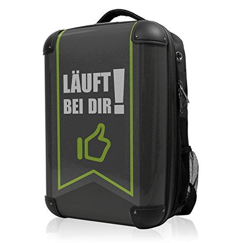 HAUPTSTADTKOFFER - Style Laptoprucksack Rucksack Business Laptop Rucksack Arbeits Daypack, individuell gestalten, Geschenkidee, Design: Läuft bei Dir - Schwarz
