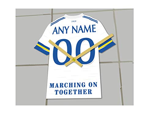 MyShirt123 Leeds United FC Fußball-Club – Fußball-Trikot-Uhr – jeder Name und jede Nummer – Sie wählen!