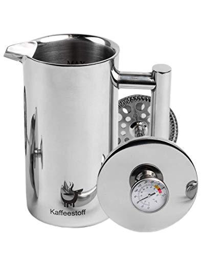 Kaffeestoff Kaffeebereiter mit Thermometer | French Press aus Edelstahl für 3 Tassen 0,6 l doppelwandig isoliert | aromatischen Kaffee einfach und schonend zubereiten