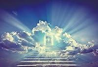 Qinunipoto 2.1m x 1.5mビニール写真背景神聖なクリスチャンの背景天国への階段光の楽園日光雲の背景幼児洗礼背景イースターパーティーの背景スタジオの小道具