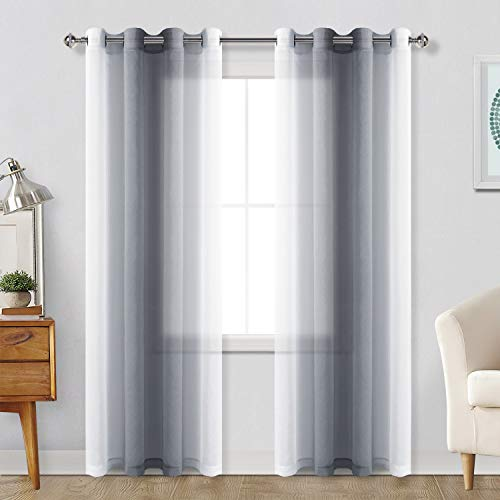 Hiasan Grey Ombre Sheer Curtains for Living Room - Faux Linen Voile Gradient Grommet Window Curtains for Bedroom, Set of 2 Panels, 52 x 84 Inches Long