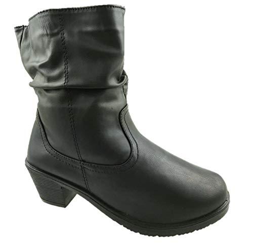 Botines de piel sintética para mujer, ligeros, con forro cálido, con cremallera lateral, color negro, talla 38 a 42, color Negro, talla 38 EU