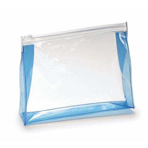 eBuyGB Trousse de toilette unisexe transparente pour voyage, bordure bleue