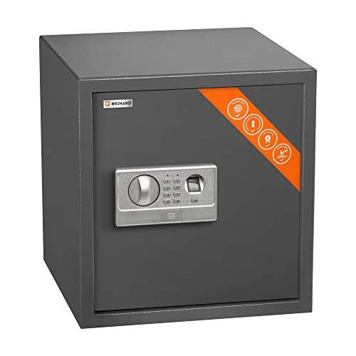 Brihard caja fuerte digital biométrica - Caja fuerte grande 40x38x38cm - 2en1 cerradura teclado digital y huella dactilar - Seguridad antigolpes, LED