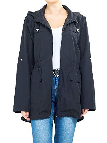 Liefde Mijn Fashions Womens Effen Vissenstaart Hooded Lichtgewicht Regen Mac Kagool Parka Polyester Dames Regenjas Twee Zakken Plus Size