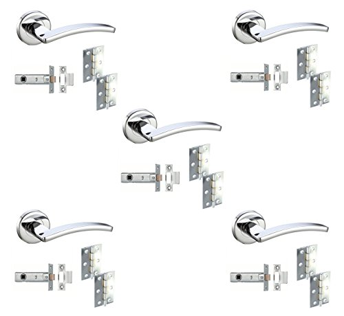 5 Sets Door Handle Pack Internal C/w Latch Hinges Toledo Lever Furniture Polished Chrome by DJM Direct