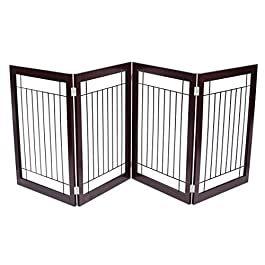 Internet's Best Traditional Wire Dog Gate – 4 Panel – 30 Inch Tall Pet Puppy Safety Fence – Fully Assembled – Durable MDF – Stairs Folding Z Shape Indoor Doorway Hall Free Standing – Espresso