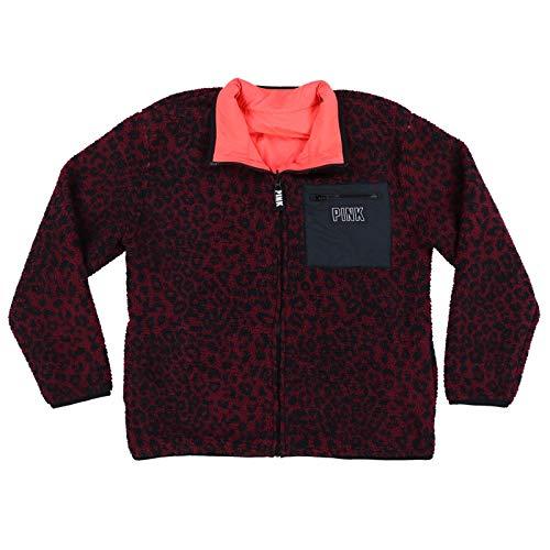 Victoria's Secret Pink Jacket Reversible Sherpa Full Zip (M, Coral/Maroon Cheetah)