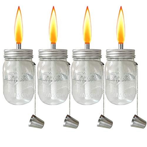 Aubasic Glass Mason Jar Table Torch,Fiberglass Wicks,Stainless Steel Lid with Fire Cover Caps,6-inch High,Clear,Set of 4(4-Pack Clear Jars)