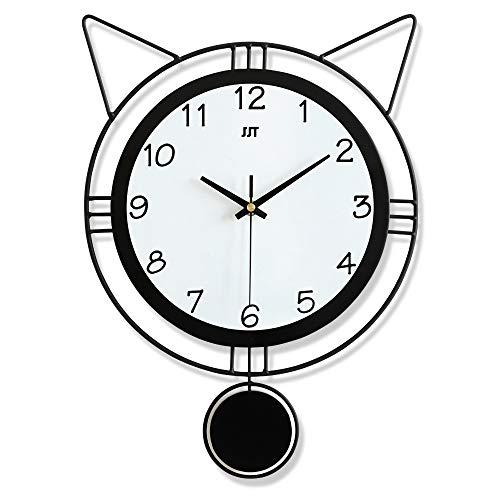 LICHUXIN Reloj de Pared de Dibujos Animados de Hierro Forjado, Reloj de Pared en Forma de Oreja Creativa y Linda, Reloj de Arte silencioso con péndulo, decoración de la Pared del hogar