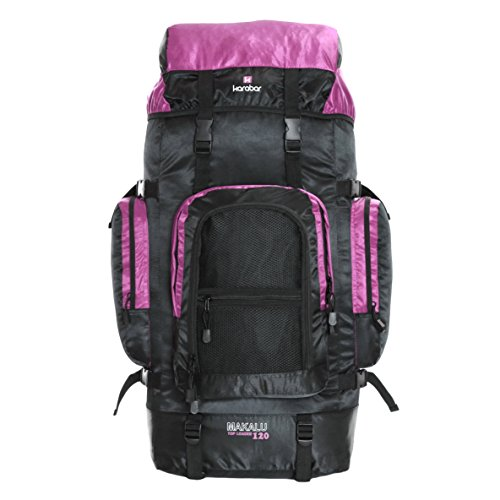 Karabar Extra Large Travel Hiking Backpack Rucksack Bag XL 120 litres 85 cm 1.3 kg, Makalu Black & Pink
