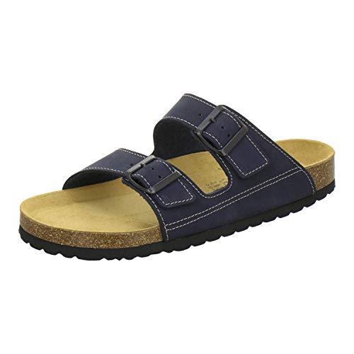 AFS-Schuhe 3110 sportliche Herren Pantoletten Leder, Bequeme Hausschuhe Korkfussbett, Made in Germany (44 EU, Navy)