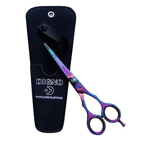 DIGNO Tijeras de peluquería profesionales multiusos para peluquería (16,5 cm), con funda negra, carcasa de acero japonés con revestimiento de teflón, multicolor.