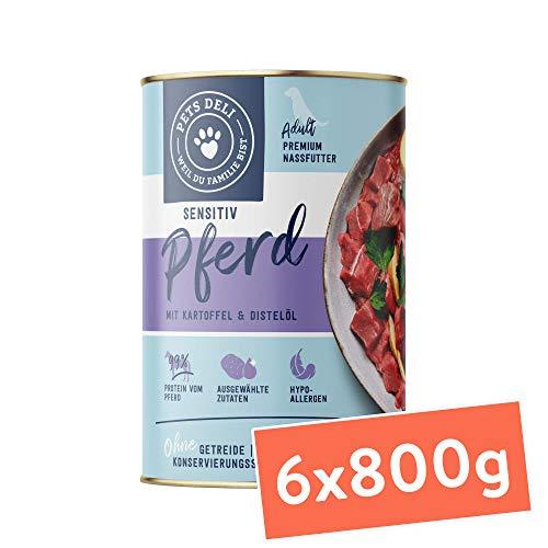 Pets Deli cibo umido per cani 4,8 kg - confezione speciale da 6 pacchi | qualità premium | cavallo con patate e olio di cartamo - cibo per cani con il 70% di carne