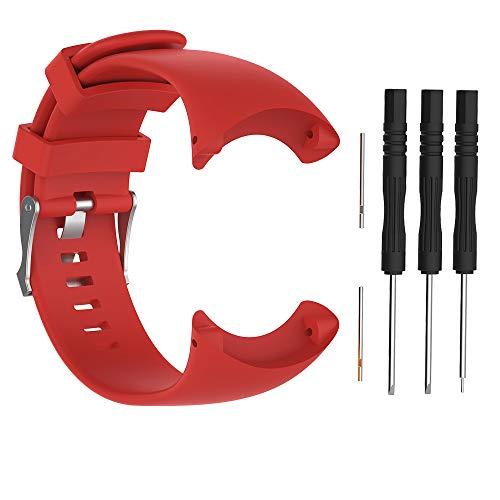 Bracelet de remplacement pour montre intelligente Suunto Core All Black - Silicone souple, Red