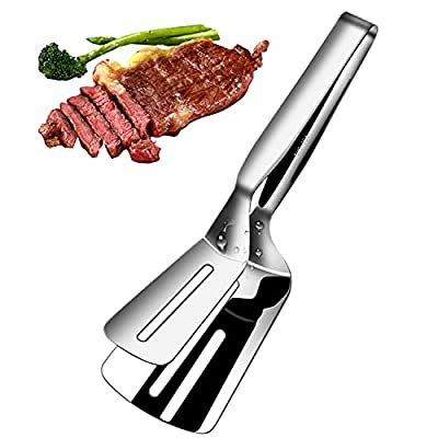 12 Inch Long Cooking Spatula Tong, 304 Stainless Steel, Slotted Double Spatula, Cooking&Serving Utensil for Holding&Flipping Steak Fish Bread Pizza Pies, Anti Rust&Corrosion Kitchen Stainless Spatula