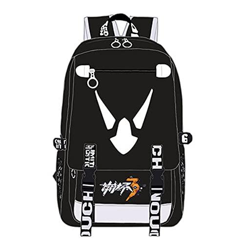 JXEXF Honkai Impact 3 Laptop Travel Aneime Mochila, Wide Open Travel Trabajo Rucksack Bag Casual Daypack, Regalos para Adolescentes (Color : Black, Size : 48 * 30 * 15cm)