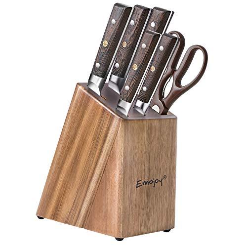 Emojoy Messerblock, Messerset, 7-TLG, Messer Set mit Holzgriff, scharf Küchenmesser Set, Kochmesser Set mit Schere, aus deutschem Edelstahl, Messerhalter