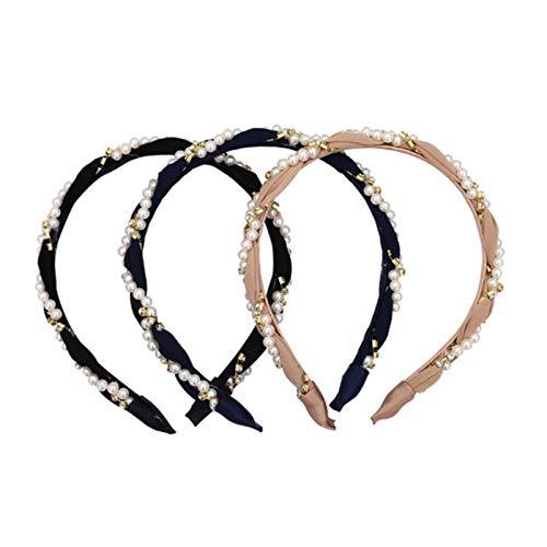 Wushu Headbands Fashion Rhinestone Headband, with Faux Pearl Elastic Headband, Temperament Hair Accessories, 3 Pieces (Color : Black+Blue+Pink)