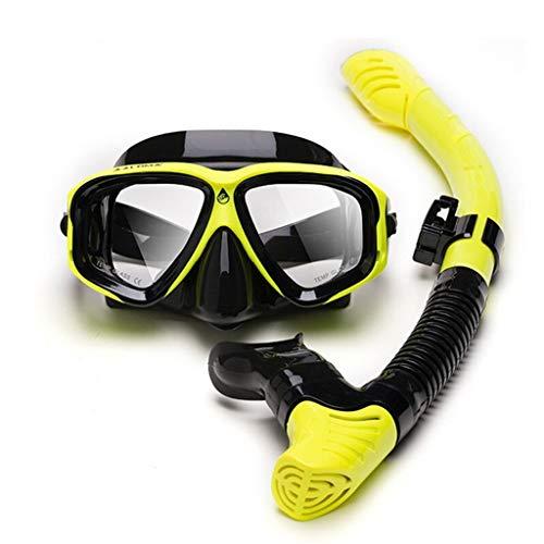 xiaokeai Adulto Traje de Snorkel Amplio Campo de visión de Alta definición Gafas de Buceo Completo seco del Tubo respirador Que nadan los vidrios Gafas de máscara (Color : C)