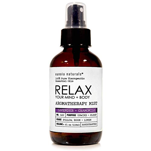 Relax- Lavender + Chamomile Aromatherapy Mist, Relax Lavender Pillow Spray, Calming + De-Stress Lavender Essential Oil Mist, Lavender Sleep Spray, Shake. Spray. Inhale. Repeat. 4 Oz Glass Bottle