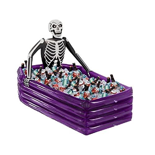 SHINAN Halloween cráneo esqueleto inflable porción buffet bar bebida cubo de hielo ensalada bandeja flotante piscina cerveza beber refrigerador