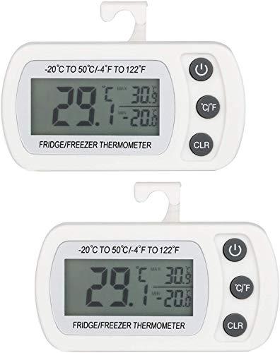 Rayber Termómetro digital Refrigerator resistente al agua, con gancho, pantalla LCD de fácil lectura, grabación máx./mín, para casa, restaurantes, cafeterías