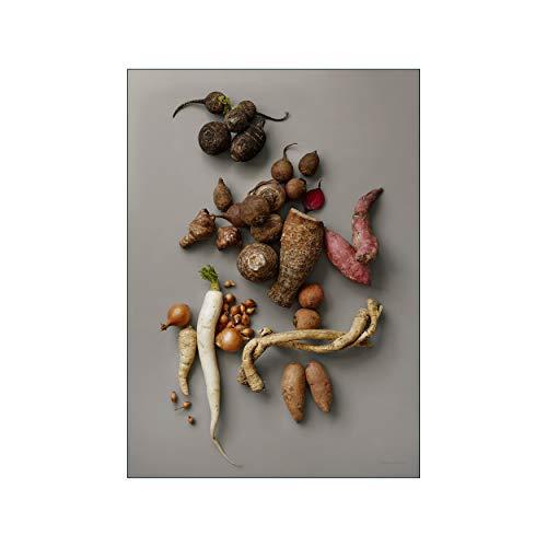 POSTER & FRAME - Poster mit Bilderrahmen - 50x70 - Wand Dekoration - Modernes Minimalistisches Design - Hohe Qualität und Langlebigkeit - Hahnemühle Papier - gra-Rodder-1 - Eiche