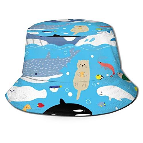 GOSMAO Unisex Sea Creatures Pattern Bucket Hat Sombrero de Pescador Sombrero para el Sol al Aire Libre Negro