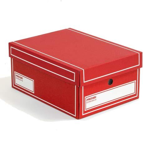 Pressel® Archivbox, Wellpappe, mit Deckel, A4, 25,5 x 35 x 15,5 cm, rot (10 Stück), Sie erhalten 1 Packung á 10 Stück