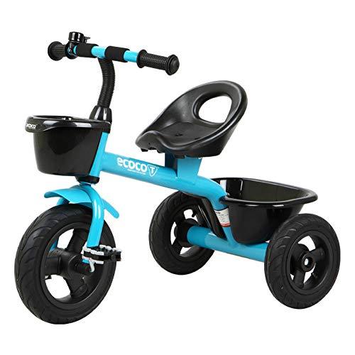 GIFT Vélo à Pédales pour Enfants Tricycle Baby Stroller Kids First Bike avec Deux Paniers De Rangement, Roues en Caoutchouc Non Gonflables, avec Cloches 2-5 Ans Cadeau du Nouvel an,D