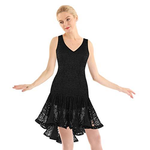 ranrann Vestido de Danza Latina Encaje para Mujer Vestido de Tango Samba Salsa Vestido Largo con Volantes Baile de Saln Disfraz Bailarina Dancewear Negro Small
