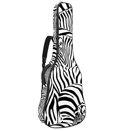 Bolsa de guitarra acústica impermeable Guitarras mochila gruesa suave acolchada clásica funda Cool Zebra gafas patrón
